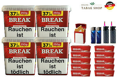 4 x Break Original Volumentabak Tabak 300g 2000 Break Hülsen + Zubehör *AKTION*