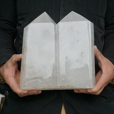 """22.42LB 9.4"""" Natural Clear White Quartz Crystal Point Tower Twins Healing"""
