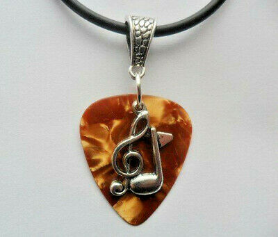 Brown Fender guitar pick necklace, treble clef musical note charm cord necklace