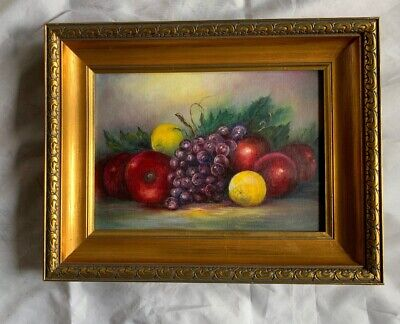 Org Oil On Canvas Nichols Fruit Painting Magnificent Gold