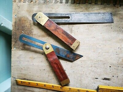 Vintage Sliding Brass And Wood Bevels X2