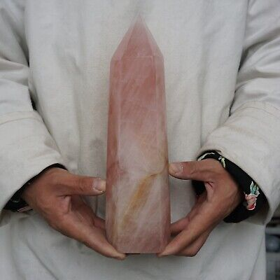 "5.13LB 10.8"" Natural Pink Rose Quartz Crystal Point Tower Polished Healing"