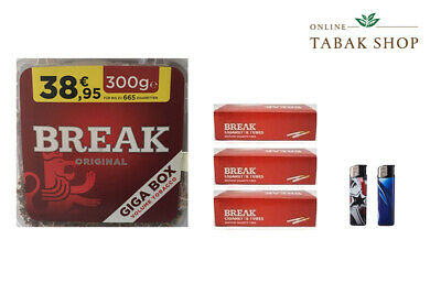 1 x Break Original Volumentabak Tabak 300g ,600 Break Hülsen , 2 Feuerzeuge