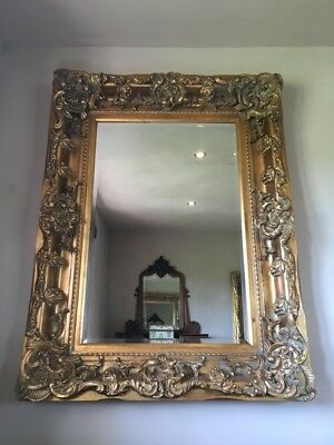 Large Antique Gold Gilt Vintage Statement French Ornate Overmantle Wall Mirror