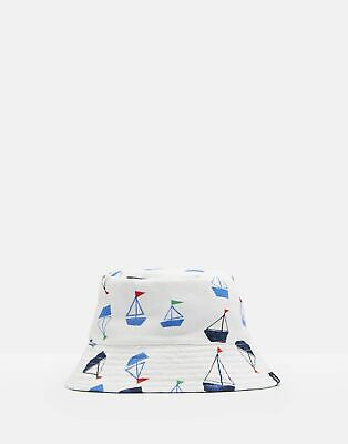 Joules Baby Brit Reversible Bucket Hat in WHITE DRAWN BOATS