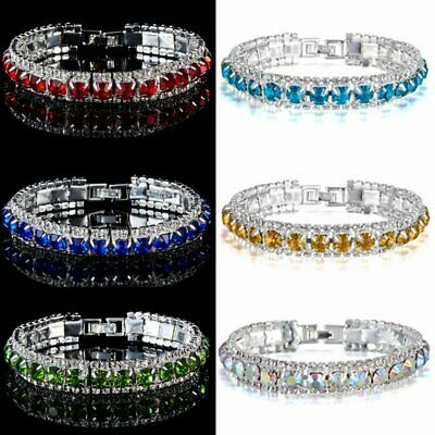 Fashion Women Crystal Rhinestone Tennis Bracelet Bangle Wedding Bridal Wristband