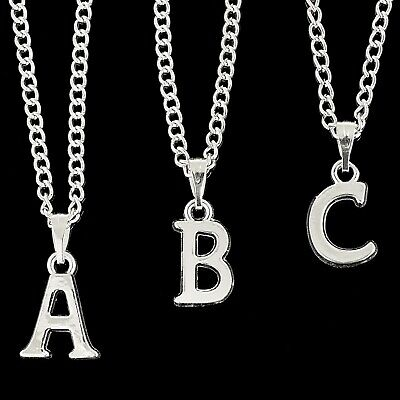 """Personalised Silver Plated Initial Letter 18"""" Necklace Pendant  A to Z"""