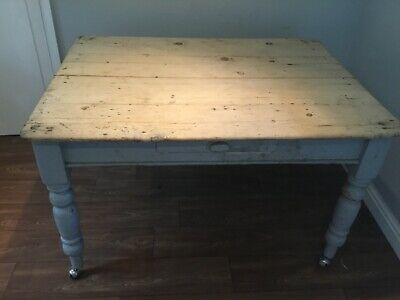 Rustic Antique Pine Country Kitchen Table