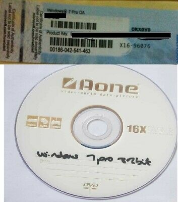 Windows 7 Professional License KEY WITH COA and 32bit WIN7 Installation DVD