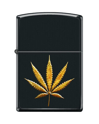 Zippo 8471, Weed-Marijuana-Pot Leaf, Black Matte Finish Lighter
