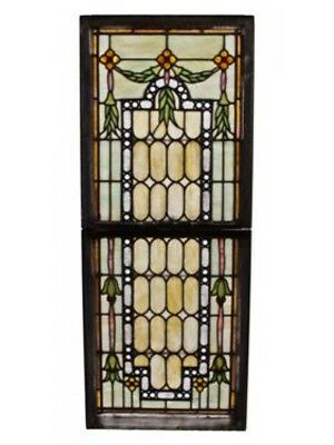 Early 20Th C Leaded Art Glass Residential Double-Hung Bay Windows