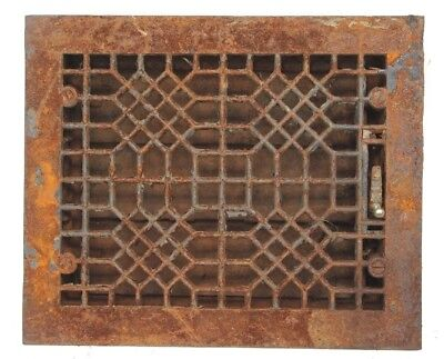 "Antique Cast Iron Floor Heating Register Grate Architectural Salvage 8"" X 10"""