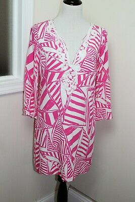 5eaffce0a06fda A Lilly Pulitzer Julianna Tunic Dress Size Medium Color: PinkWhite Beaded V  Neck