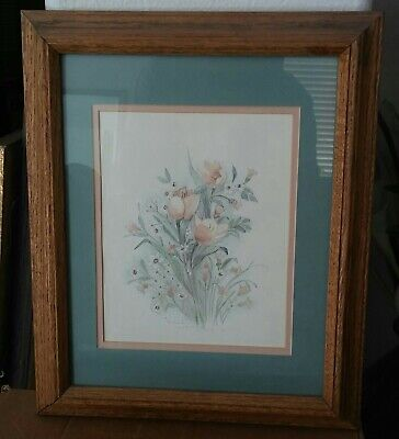 Mary Vincent Bertrand Peach Tulips Vintage Limited Edition Signed Framed