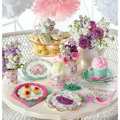 Floral Afternoon Tea Party Range: tableware cups plates napkins and decorations