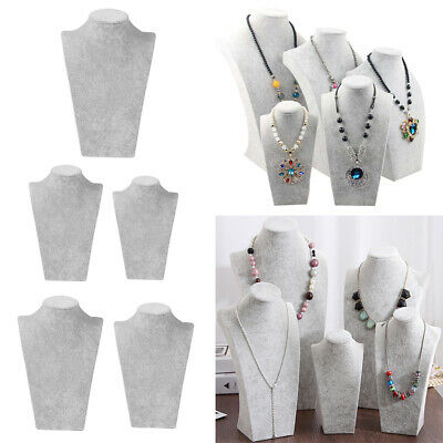 Gray Velvet 3D Necklace Jewelry Display Bust Stand Pendant Chain Holder