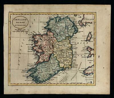 Ireland c.1790 charming miniature map lovely hand color