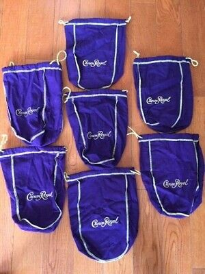 Lot Of 7 Crown Royal Purple Gold Stitch Drawstring Bags Free Shipping Brand New