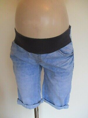 New Look Maternity Blue Denim Under Bump Knee Length Jeans Shorts Size 8