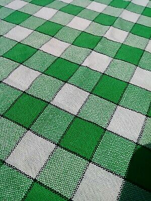 "Vintage 1940s Tablecloth Cotton Green Plaid Farmhouse Woven  52x45"" Card Table."