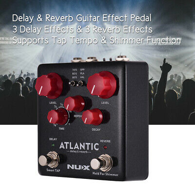 NUX ATLANTIC Delay & Reverb Guitar Effect Pedal Dual Footswitch True Bypass G3W6
