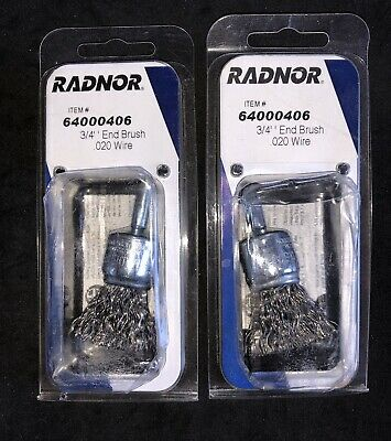 "2 Pcs Radnor 3/4 Crimped Wire End Brush Steel W/1/4"" Shank for Die Grinder/Drill"