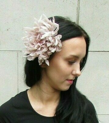 Large Beige Nude Flower Hair Clip Fascinator Bridesmaid Wedding Races Latte 7274