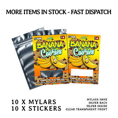 10 x Banana Cookies 3.5 Labels & Mylar Bags ( Cali Stickers )