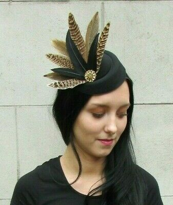 Black Gold Brown Pheasant Feather Pillbox Hat Fascinator Hair Clip Races 7276