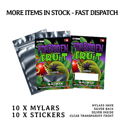 10 x Forbidden Fruit 3.5 Labels & Mylar Bags ( Cali Stickers )