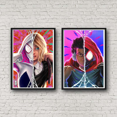 Miles Morales and Spider Gwen Portrait POSTER SET SPIDERMAN Wall Art Prints Into