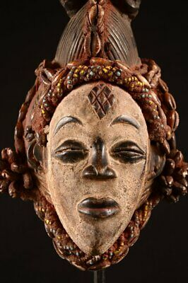 Rare Punu TRIBE Puka Shell QUEEN MASK Old AFRICAN Wood CARVED 9444