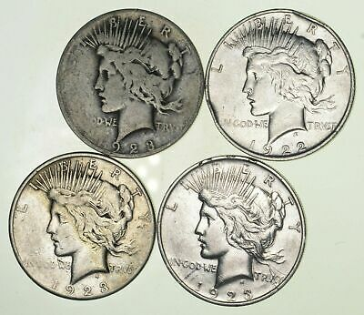 Bulk Lot CULL (4) 1922-1925 Peace Silver Dollar 90% Eagle Collection 1/5 Roll