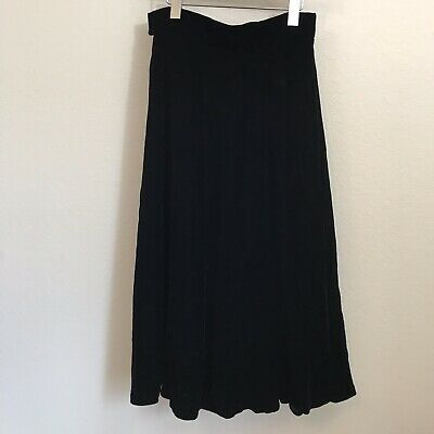 Vtg Talbots Velvet A-Line Maxi Skirt Sz 10 Side Zip Pleated Holiday Goth Black