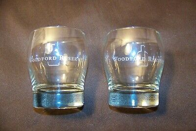 Two (2) Etched Woodford Reserve Bourbon Whiskey Lowball Rocks Glasses