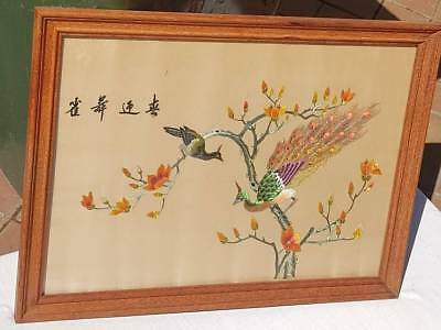 Vintage Intricate Chinese Embroidery. Peacocks on Pink Silk.