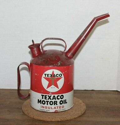 """Vintage TEXACO Gasoline Station """"Motor OIL Container"""" w/Lid & Spout"""