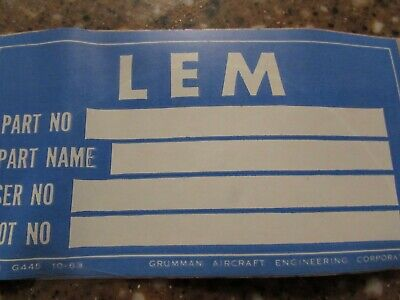 Vintage Original Un-Used I. D.tag Lunar Module, Grumman Aerospace, For Nasa