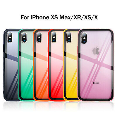 For iPhone XS Max Case XR 6 7 8 Plus Tempered Glass Hard Hybrid TPU Bumper Cover