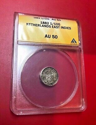 1882 Netherlands East Indies 1/10 Gulden Silver Colonial Coin Anacs Au 50
