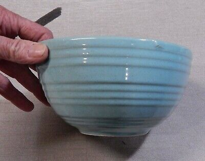 """Vintage McCoy USATeal Nesting Mixing Bowl McCoy Ribbed Bee Hive  7 x 3 3/4"""""""