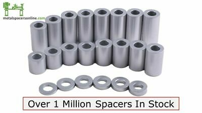 "New Aluminum Spacer Bushing 3/8"" OD x 1/4"" ID--Fits M6 or 1/4"" bolts"