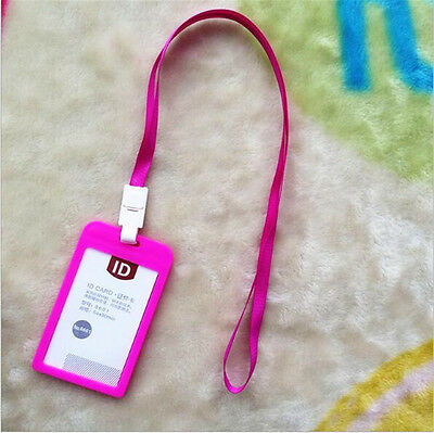 2pcs Business ID Card Badge Holder Vertical With Neck Strap Lanyard Pink AU