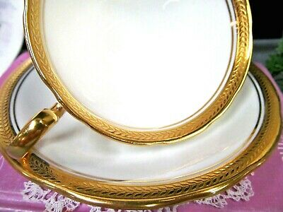 AYNSLEY tea cup and saucer THICK GOLD GILT BAND ETCHED teacup pattern