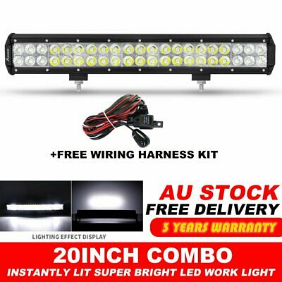 "20"" INCH CREE LED LIGHT BAR SPOT FLOOD OFFROAD 4WD TRUCK ATV SUV + Wiring Kit"