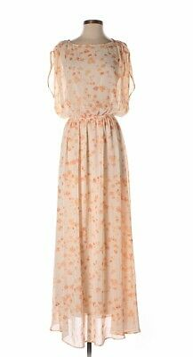 Paper Crown Cream & Peach Floral Printed Women's Summer Maxi Dress, Size XS