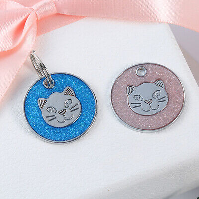 Round Metal Dog Cat Collar Name Tag Engraving ID Owner Address Key Ring Pendant