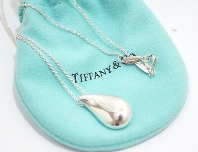 Tiffany & Co. Sterling Silver Peretti Large Teardrop Pendant Necklace 18""