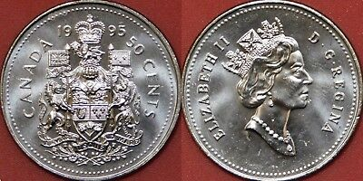 Brilliant Uncirculated 1995 Canada 50 Cents From Mint/'s Roll