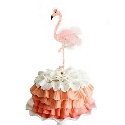 high glitter feather flamingo cake topper tropical hawaiian party decoration#